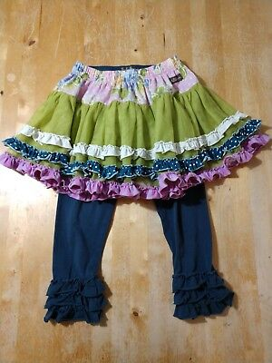 Girls MATILDA JANE GOOD HART SEA SALT SKIRT & YOU & ME LEGGINGS SIZE 4 TULLE