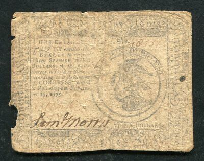 Cc-13 November 29, 1775 $3 Three Dollars Continental Currency Note