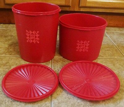 Vintage Tupperware Red Quilt Canister Set of 2 Servalier Containers with Lids