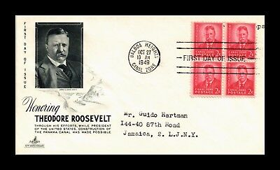 Dr Jim Stamps Us Cover Theodore Roosevelt Canal Zone Block Of 4 Fdc 1949