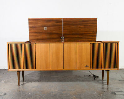 Mid Century Modern Stereo Console Grundig Record Player Teak Vintage Working Mcm