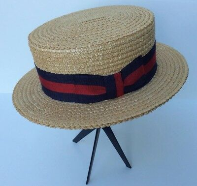 8c079f69f15 Brooks Brothers Italian Straw Boater Hat Vtg 20s 30s Style Art Deco Great  Gatsby