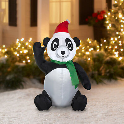 inflatable panda with santa hat 35 tall christmas decoration outdoor adorable - Minion Outdoor Christmas Decorations