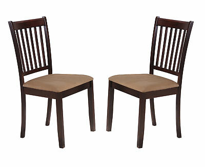 Cappuccino Wood Microfiber Kitchen Dinette Dining Side Chairs, Set of 2