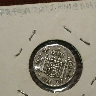 1804 - MEXICO COLONIAL 1/2 REAL Carlous IIII COIN silver