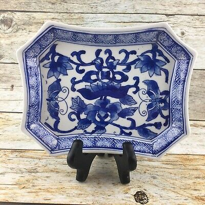 THE CANTON COLLECTION By TWO'S COMPANY Floral Blue  White Rectangle Ceramic Dish