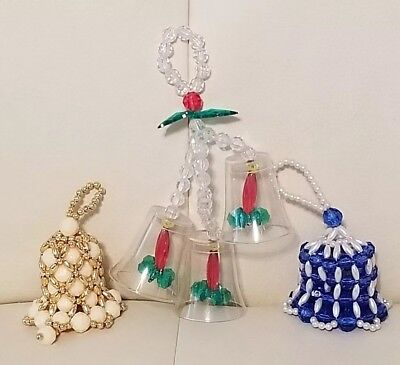 Lot Of 3 Vintage Handmade Handcrafted Beaded Christmas Bell Ornaments