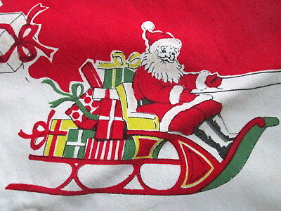 vintage christmas tablecloth santa sleigh merry reindeer gift holly 48x60 cotton