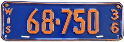 1936 FORD Phaeton WISCONSIN repro plastic license plate 68-750
