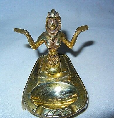 VINTAGE Art Deco Egyptian Cleopatra Brass INCENSE BURNER