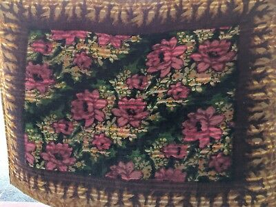 Antique Victorian Chase Sleigh Blanket/Buggy Blanket Mohair Diagonal Floral