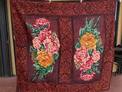 Antique Victorian Chase Sleigh Blanket/Buggy Blanket Mohair Opposing Bouquets
