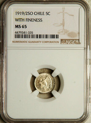 Ngc Ms-65 Chile Silver 5 Centavos 1919/2 (The Only Coin Graded!) Pop: 1/0