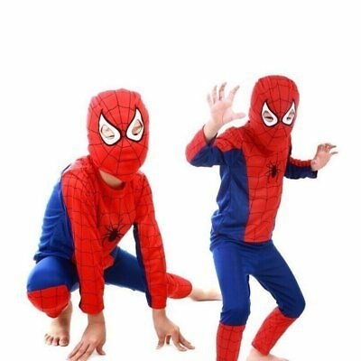 Kids Super Hero Spiderman Costume Boys Fancy Dress Halloween Cosplay Outfit Suit