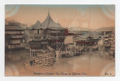 SHANGHAI CHINESE TEA HOUSE AT CHINESE CITY POSTCARD c1910  CHINA