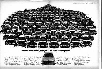 1968 Rambler vs 1000's of VW Beetles 128 Horse Power Original 2 Page Magazine Ad