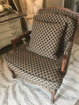 French Bergere Louis XV Style Open Arm Chair