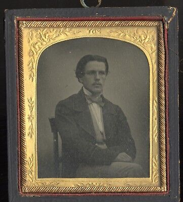 Ambrotype. 1860s. Elegant young man in oversized jacket! Sixth plate.