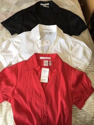 Womens Charlotte Russe Button Down Blouse Sz Small Lot Of 3 Red/Blk/Wht NWT