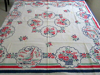 VINTAGE TABLECLOTH SAILBOATS Ocean Anchor Waves Flower Pots 46x50 Cotton