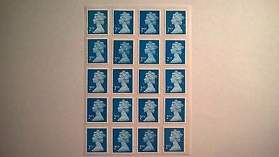 20 Second Class Easy-Peel Blue Security Stamps Off Paper With Partial Gum