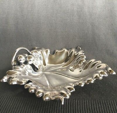Vintage, Peru .925 AIPSA Sterling Silver Ornate Grape Leaf Dish