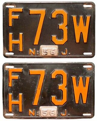 New Jersey 1956 License Plate PAIR, Essex County, FH 73 W, Nice Quality