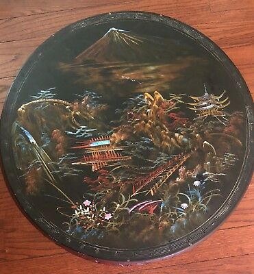 Antique Japanese Round Table Hand Painted and Mother Of Pearl