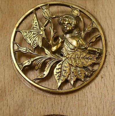 """NICE 1"""" Open Work Girl and Butterfly Brass Antique Button 698:5"""