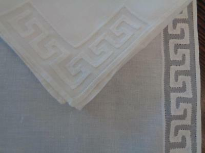 6 Fabulous Vintage Marghab / Madeira Greek Key Pattern Placemats & Napkins Mint!