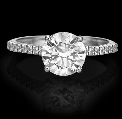1.51 Ct Si/d Round Cut Diamond Solitaire Engagement Ring 14K White Gold Enhanced