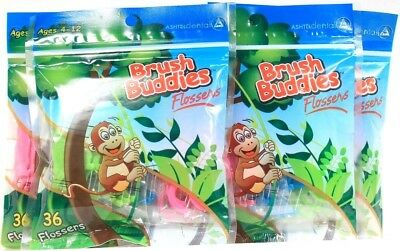 4 Brush Buddies 36 Count Flossers Maintain A Clean & Healthy Smile Ages 4-12
