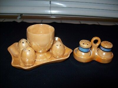 Lusterware Egg Server with Salt & Pepper Shakers...Two Unique Sets