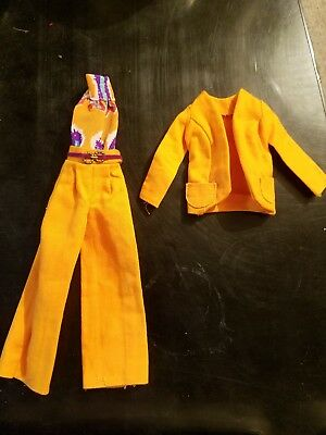 """Vintage Barbie Best Buy """"#3208"""" Pant Suit! Fashioned In Orange Twill 1973 Rare"""