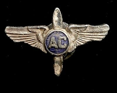 "Rare? Vintage Silver AC Pilot Wings Pin 1 1/8"" D670"