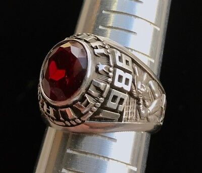 Vtg Silver Tone Heavy 1986 Laurel High School Baseball Ring MARKED Sz:10.5 M715