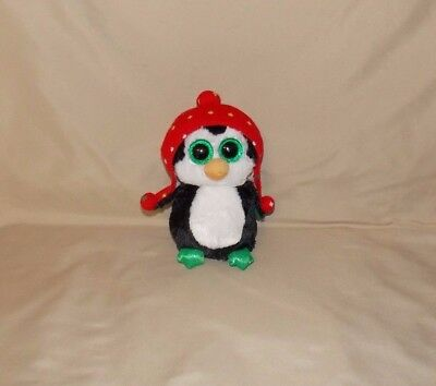 Ty Beanie Boo s Boos Penguin Christmas FREEZE stuffed plush Red hat Green 6
