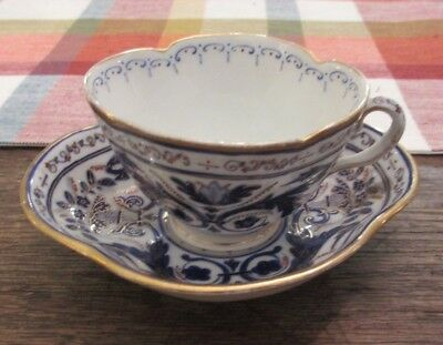Antique Royal Vienna Beehive Porcelain Painted Demitasse Cup & Saucer Blue & Red