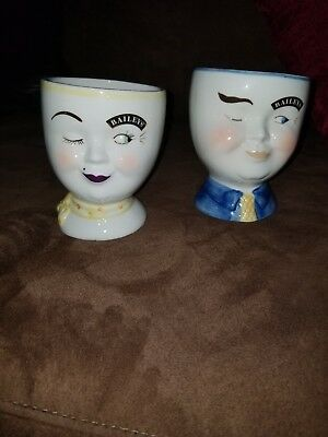 Bailey's Irish Cream YUM Mugs Man Woman His & Hers Winking Face 1997 Limited Ed.