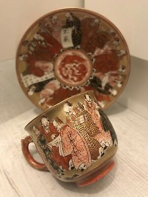 Antique Japanese Meiji Period Satsuma Shimazu Thousand Face Immortals Cup&Saucer