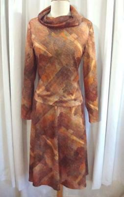 VTG 70s Orange/Cocoa ABSTRACT PRINT 1970s COWL TOP & SKIRT Dress Set M