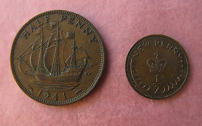 (2) Half Penny / New Penny Coins 1941 & 1971 Circulated