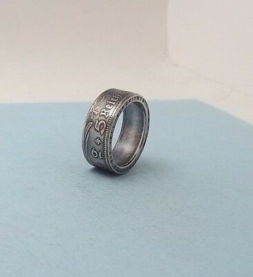 Third Reich WWII 1935 German 5 mark 90% silver coin ring size 10