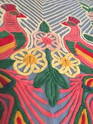 Vintage Chenille Bedspread DOUBLE  Peacocks ~ BEAUTIFUL, THICK AND GORGEOUS