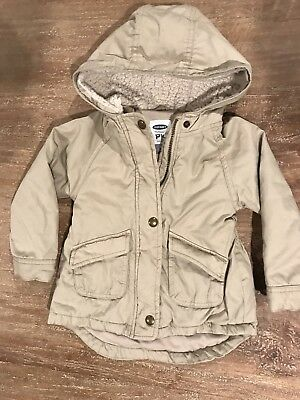 Old Navy Toddler Girls Boys Size 3T Beige Khaki Hooded Jacket Coat