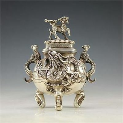 Oriental Vintage Cupronickel Handwork Dragon Incense Burner W Qianlong Mark