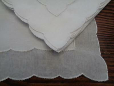 Set Of Marghab Scallopino 4 Placemats & 4 Napkins In White Linen & Organdy  Mint
