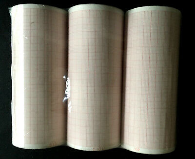 EKG thermal recording paper lot of 3 new rolls 100mm grid x 20 meters length