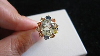 Fine sterling silver green amethyst sapphires, fancy sapphires Ring size P 1/2