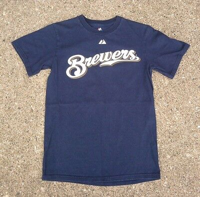 Milwaukee Brewers #8 Ryan Braun MLB Baseball Shirt ~ Men's Small S Blue Majestic